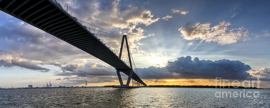 Sunset Behind Arthur Ravenel Jr Bridge Charleston South Carolina Photograph