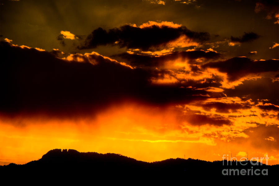 Sunset Behind Horsetooth Rock Photograph