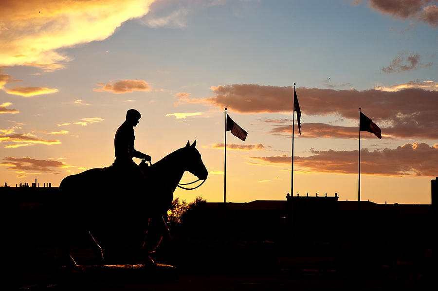 Sunset Behind Will Rogers And Soapsuds Statue At Texas Tech University In Lubbock Photograph  - Sunset Behind Will Rogers And Soapsuds Statue At Texas Tech University In Lubbock Fine Art Print