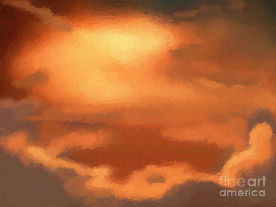 Sunset Clouds Painting  - Sunset Clouds Fine Art Print