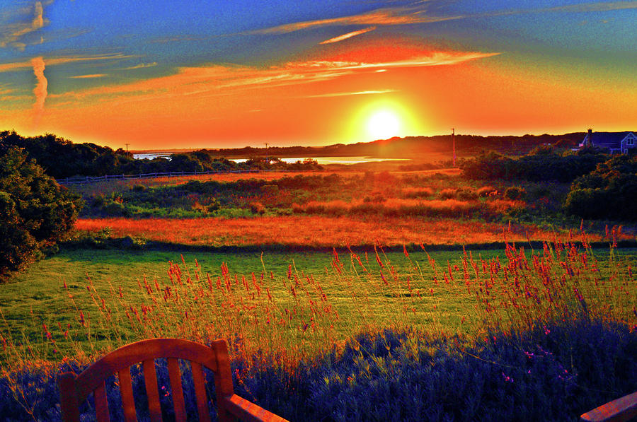Sunset Eat Fire Spring Rd Nantucket Ma 02554 Large Format Artwork Photograph  - Sunset Eat Fire Spring Rd Nantucket Ma 02554 Large Format Artwork Fine Art Print