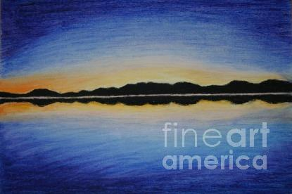 Sunset In Blue Drawing