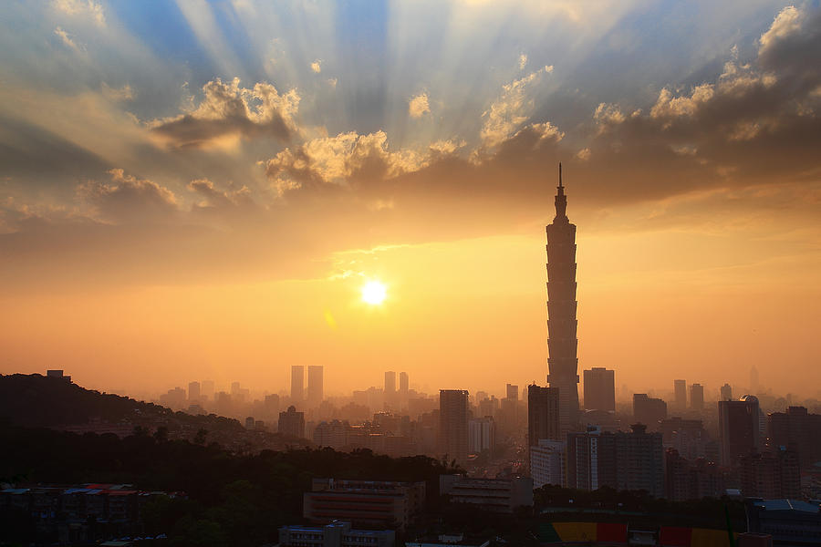 Horizontal Photograph - Sunset In Metropolitan by Jhhuang