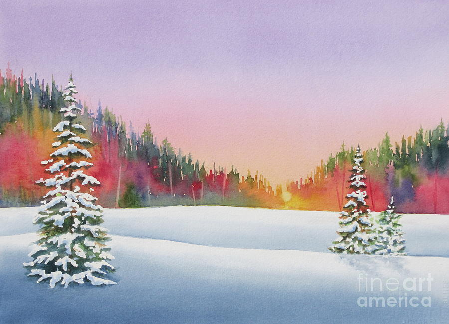 Sunset In The Pines Painting