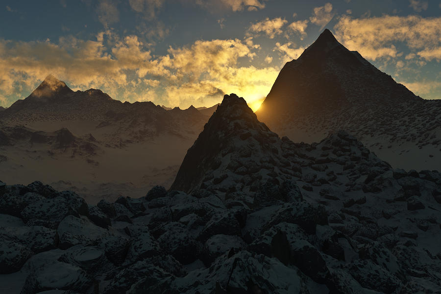 Hakon Digital Art - Sunset In The Stony Mountains by Hakon Soreide