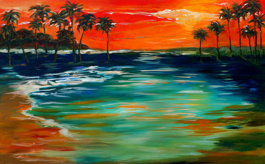 Sunset Island Painting  - Sunset Island Fine Art Print