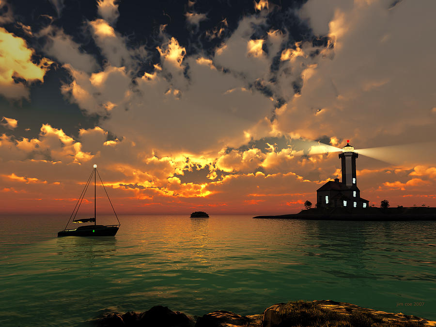 Sunset Lighthouse Digital Art