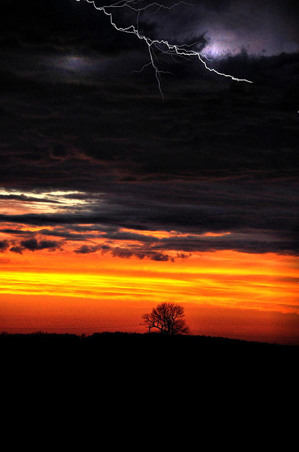 Sunset Lightning Photograph  - Sunset Lightning Fine Art Print