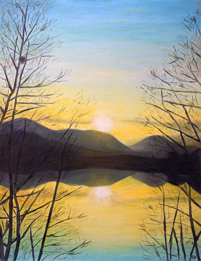 sunset mountain painting by ronald haber