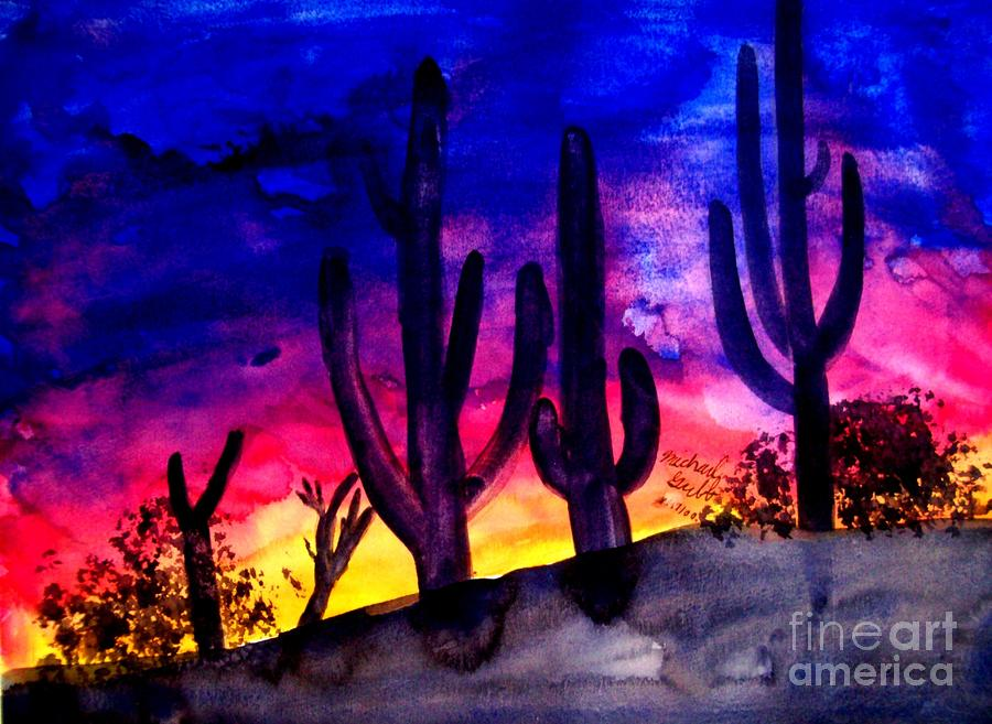 Sunset On Cactus Painting  - Sunset On Cactus Fine Art Print