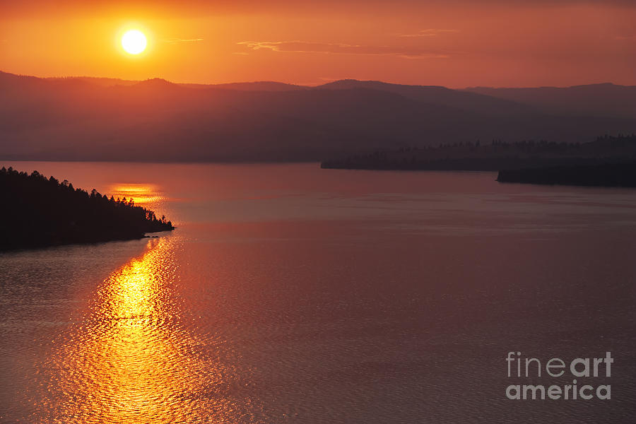 Sunset On Flathead Lake With Wild Horse Island Photograph