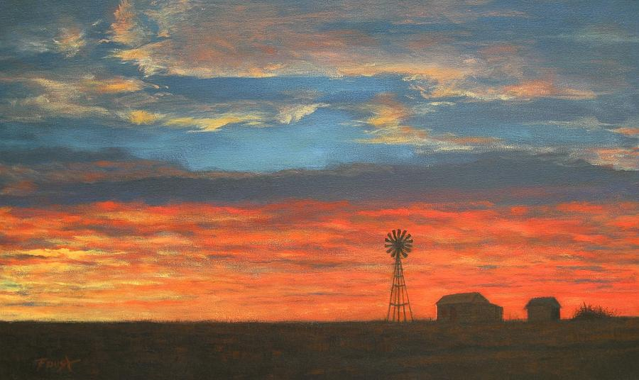 Sunset On The Plains Painting  - Sunset On The Plains Fine Art Print