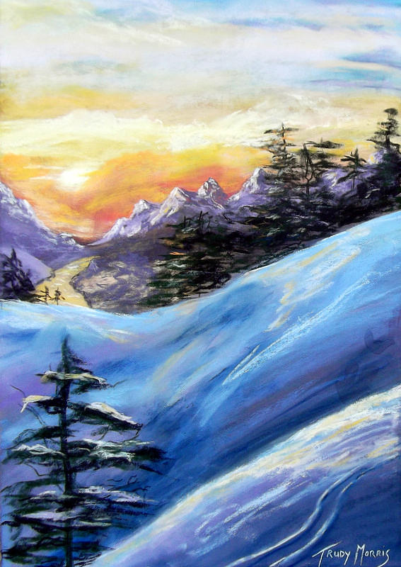 Sunset Painting - Sunset On The Snow by Trudy Morris