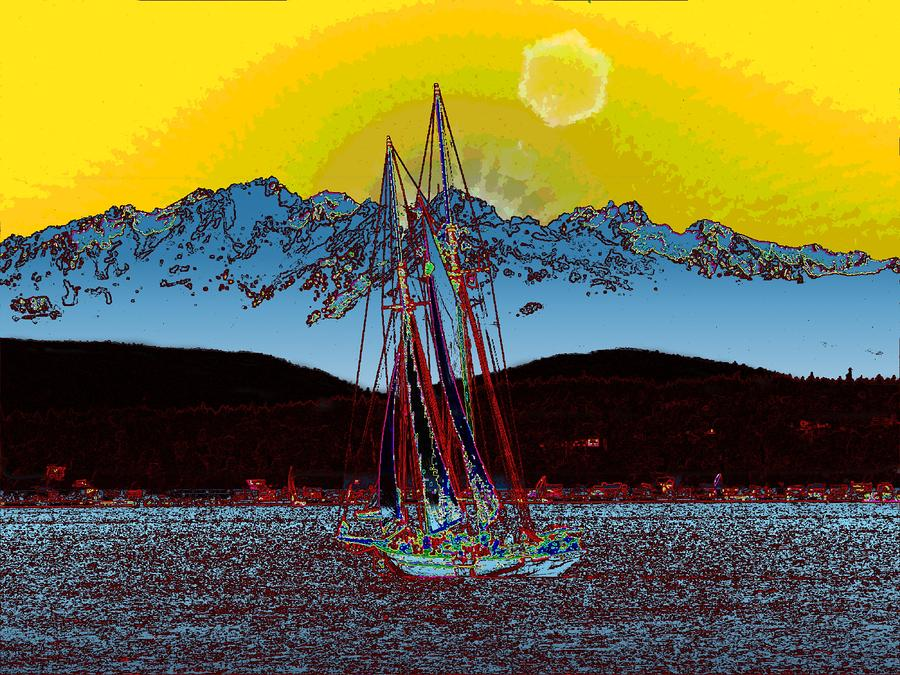 Sunset On The Sound Digital Art