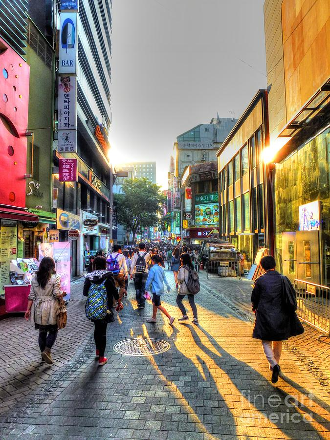Sunset On The Streets Of Seoul Photograph