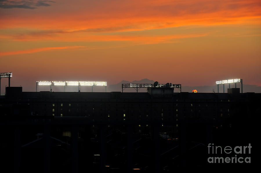 Sunset Over Camden Yards Baltimore Photograph