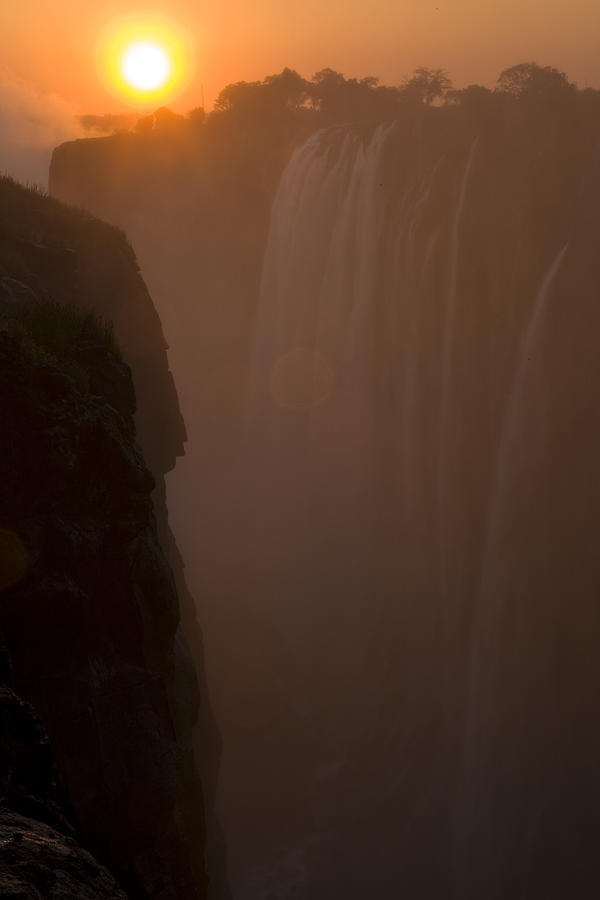 Sunset Over Cascading Victoria Falls Photograph