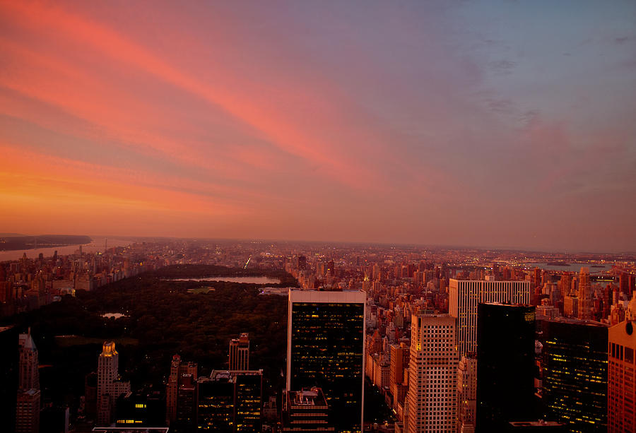 Sunset Over Central Park And The New York City Skyline Photograph