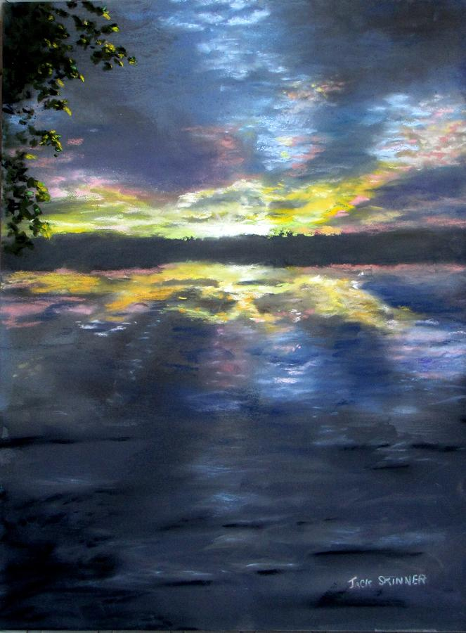 Sunset Over Mystic Lakes Painting