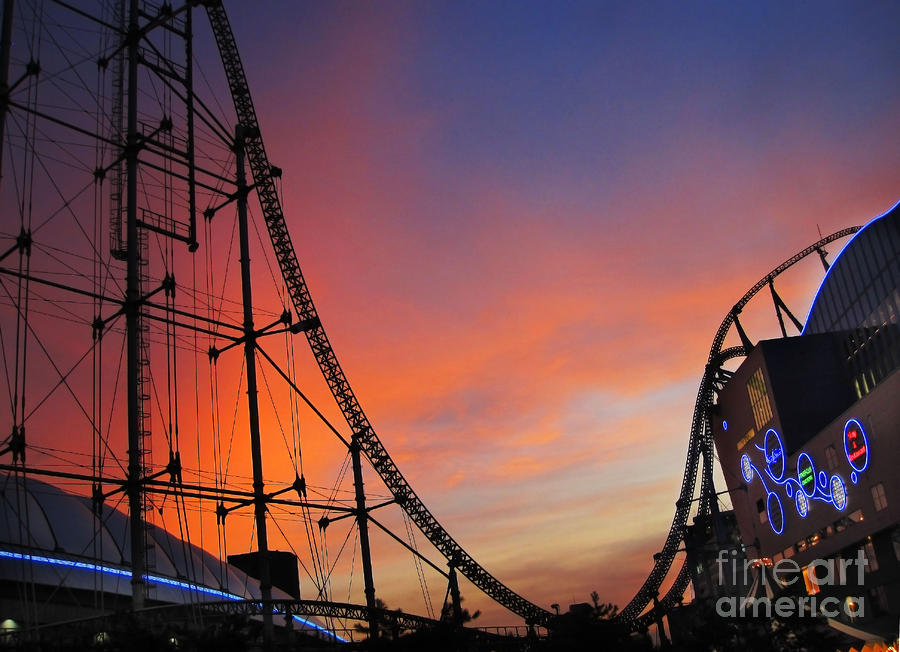 Sunset Over Roller Coaster Photograph
