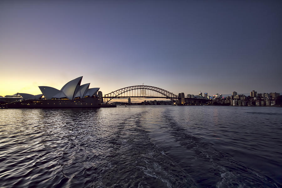Sunset Over Sydney Harbor Bridge And Sydney Opera House Photograph