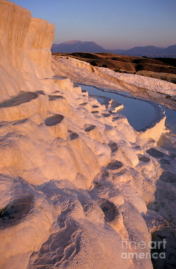 Sunset Over The Famous cotton Castle Pools Of Pamukkale Photograph  - Sunset Over The Famous cotton Castle Pools Of Pamukkale Fine Art Print