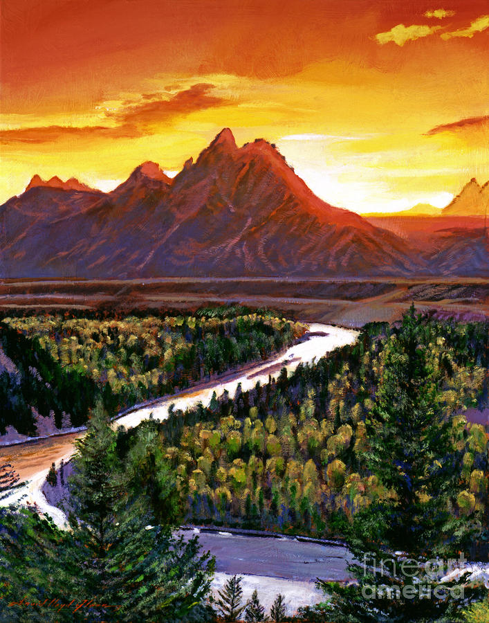 Sunset Over The Grand Tetons Painting