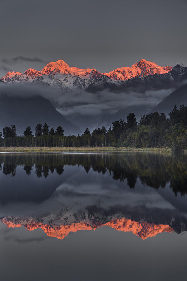 00462453 Photograph - Sunset Reflection Of Lake Matheson by Colin Monteath