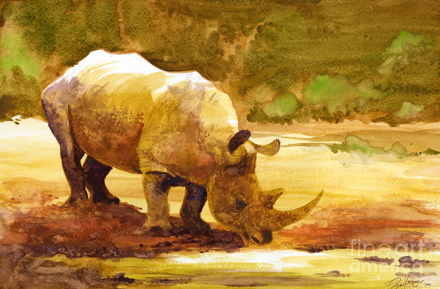 Sunset Rhino Painting  - Sunset Rhino Fine Art Print