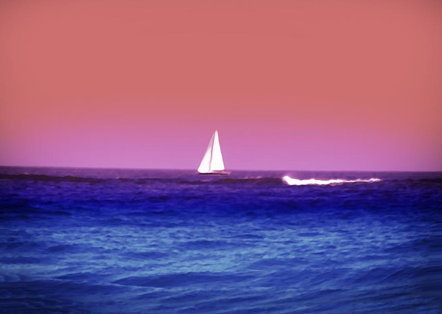 Sunset Sailboat Photograph