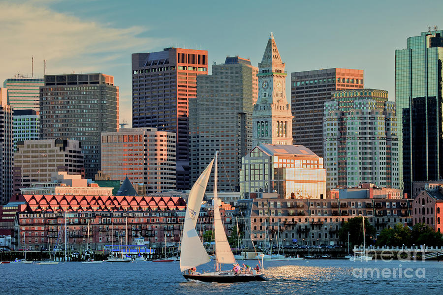 Sunset Sails On Boston Harbor Photograph