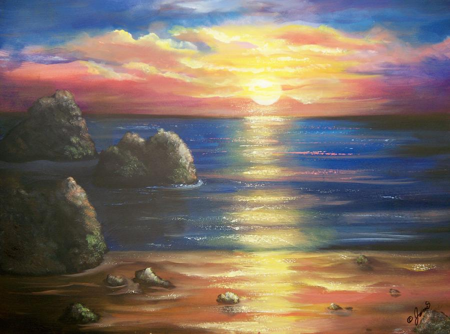 Sunset Seascape Painting  - Sunset Seascape Fine Art Print