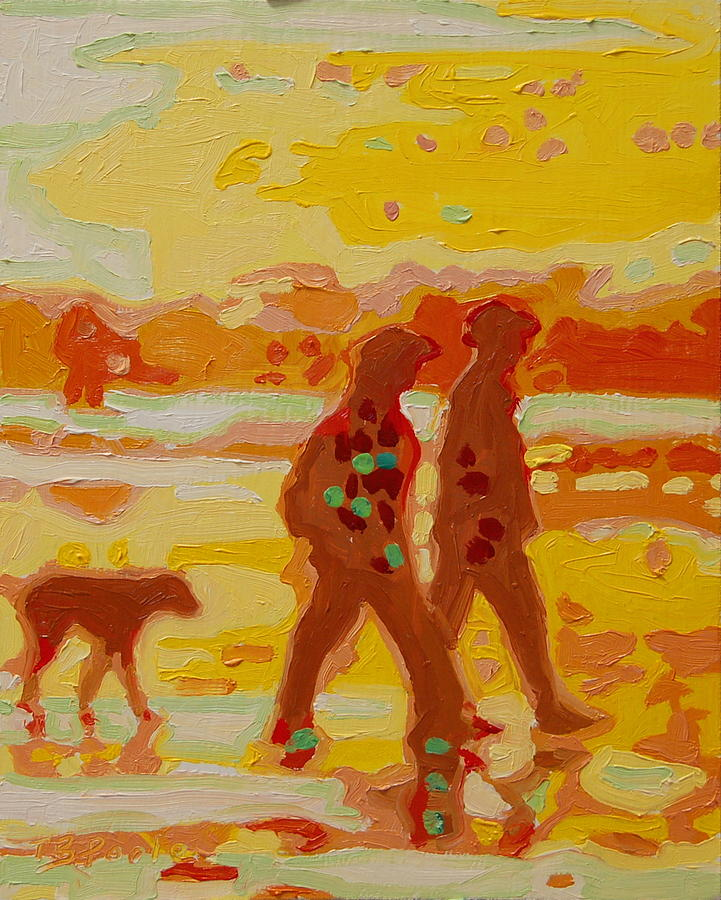 Sunset Silhouette Carmel Beach With Dog Painting  - Sunset Silhouette Carmel Beach With Dog Fine Art Print