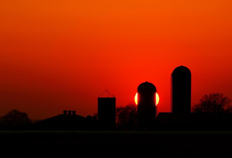 Sunset Silo Photograph