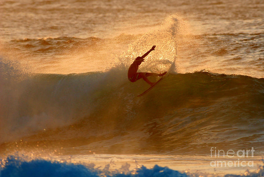 Ocean Photograph - Sunset Slash by Paul Topp