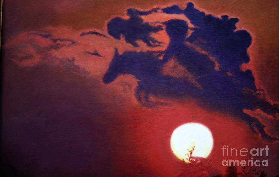 Sunset Steeplechase Painting  - Sunset Steeplechase Fine Art Print