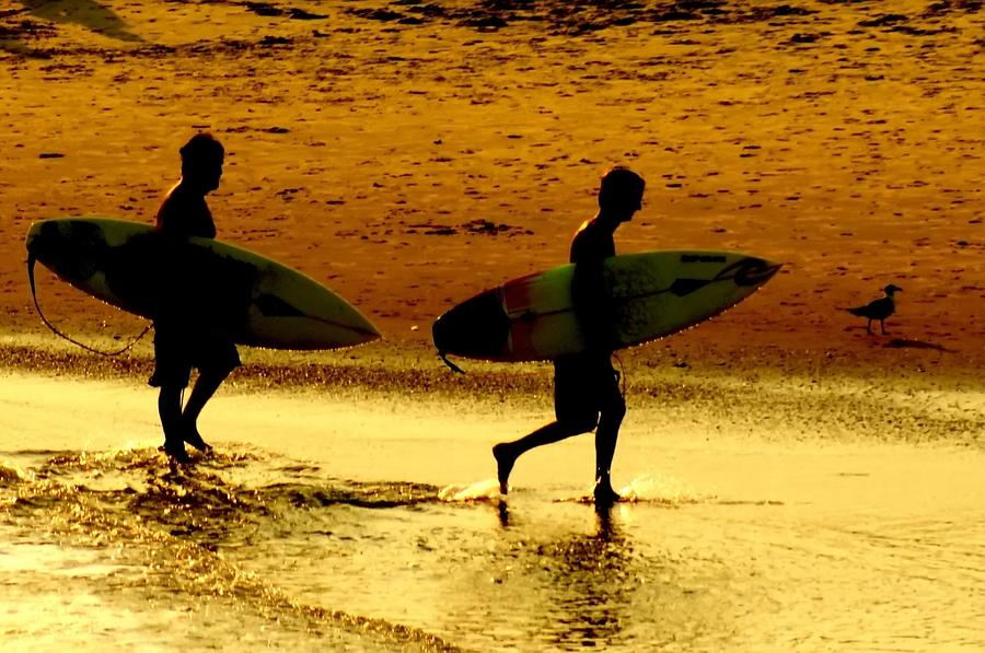 Sunset Surfers  Photograph  - Sunset Surfers  Fine Art Print