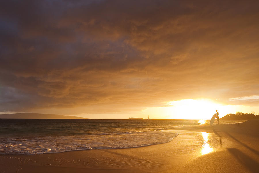 Sunset Surrounding Skimboarder Photograph