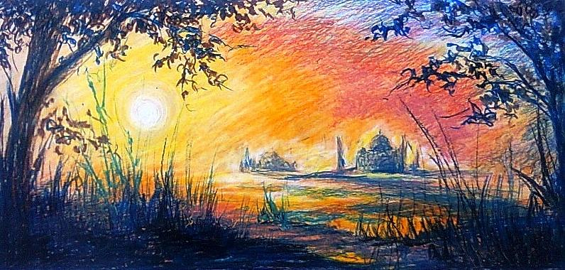 Oil Pastel Paintings Of Sunset