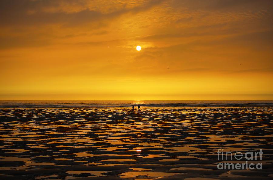 Beach Photograph - Sunset Walk by Silvio Schoisswohl