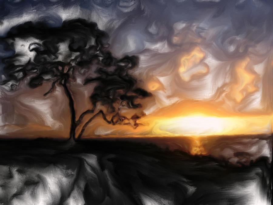 Sunset With Tree Digital Art