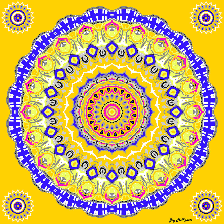 Sunshine And Blue Skies Mandala Digital Art  - Sunshine And Blue Skies Mandala Fine Art Print