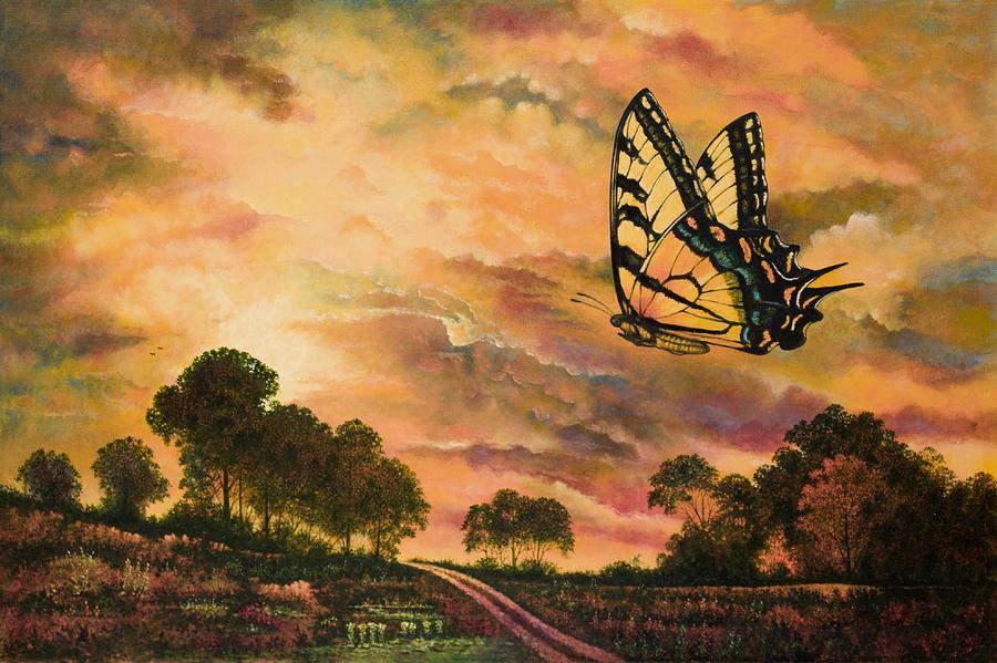 Sunshine Traveler-swallowtail Painting  - Sunshine Traveler-swallowtail Fine Art Print