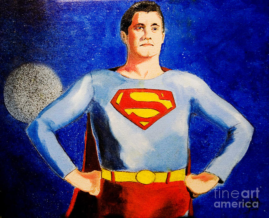 Superman  Painting  - Superman  Fine Art Print