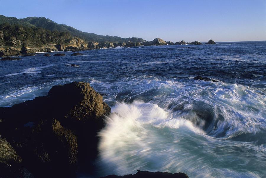Surf Pounds And Swirls Around Bird Rock Photograph