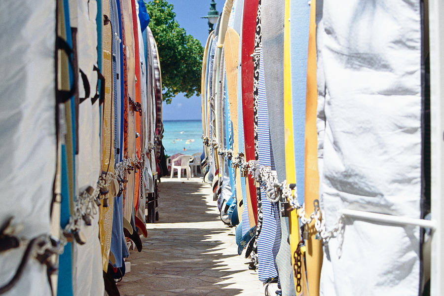 Surfboard Storage Waikiki Beach Photograph  - Surfboard Storage Waikiki Beach Fine Art Print