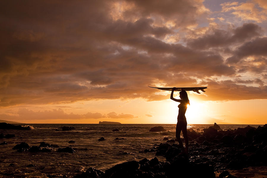 Surfer Girl - Makena Sunset Photograph  - Surfer Girl - Makena Sunset Fine Art Print