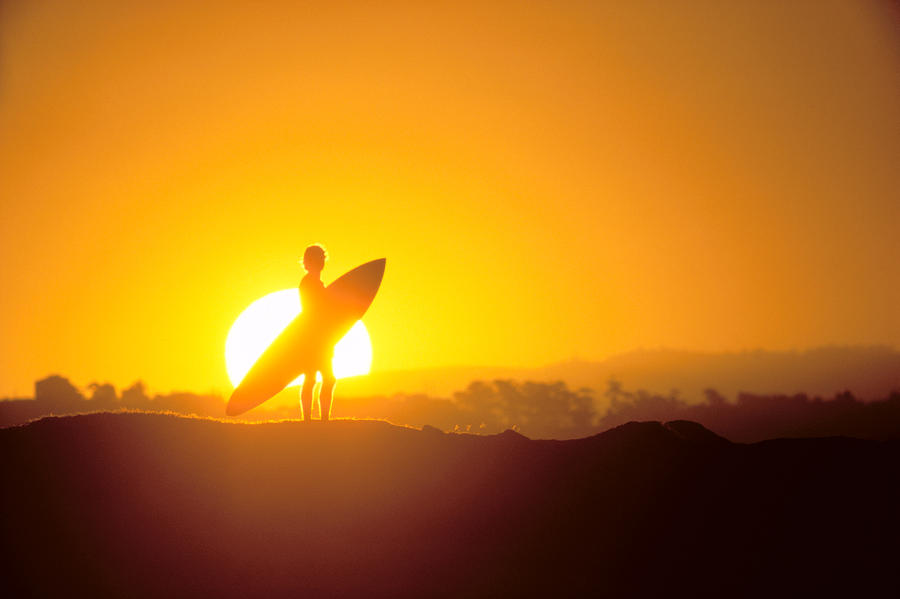 Surfer Silhouetted At Sun Photograph  - Surfer Silhouetted At Sun Fine Art Print
