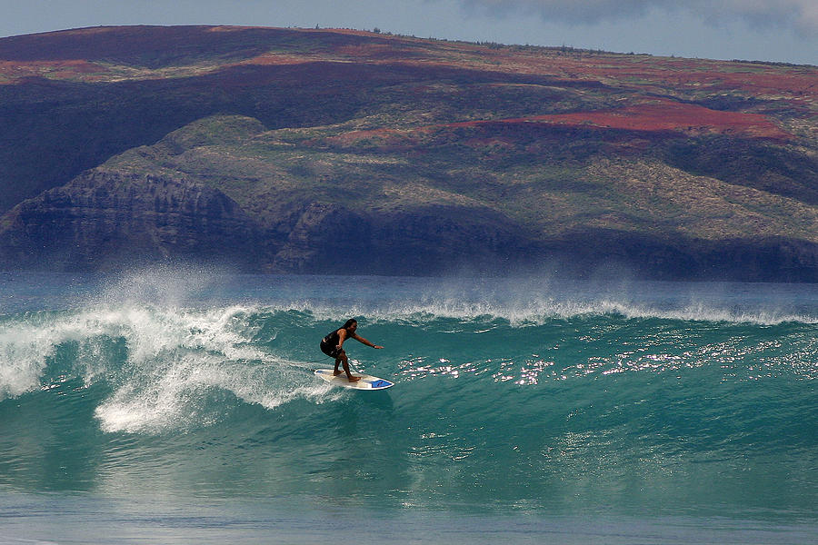 Surfer Surfing The Blue Waves At Dumps Maui Hawaii Photograph