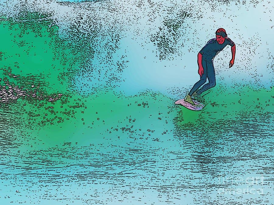 Surfing Digital Art  - Surfing Fine Art Print